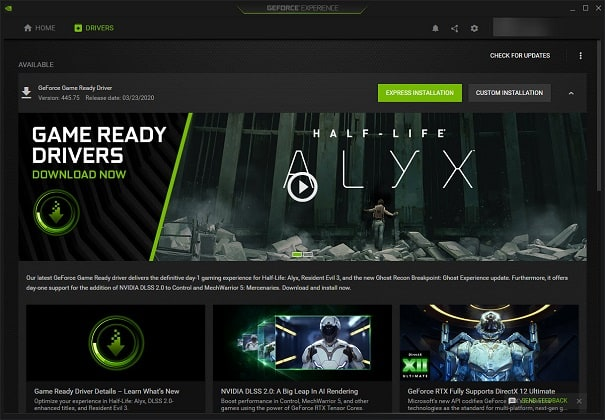 Установка NVIDIA GeForce Experience Express