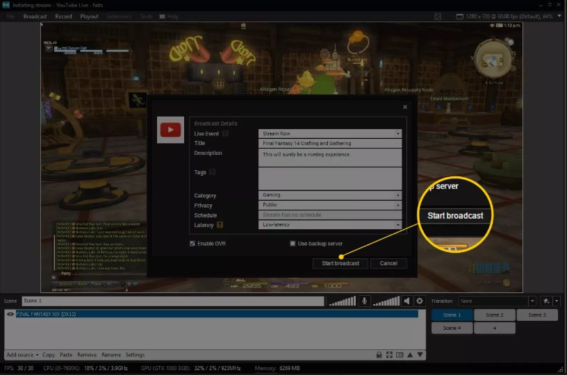 Кнопка начала трансляции в XSplit Broadcaster
