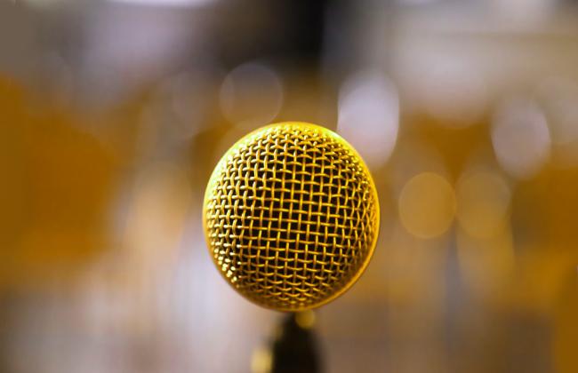 Крупный план микрофона.