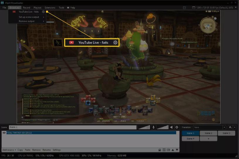 Ссылка на YouTube Live в XSplit Broadcaster