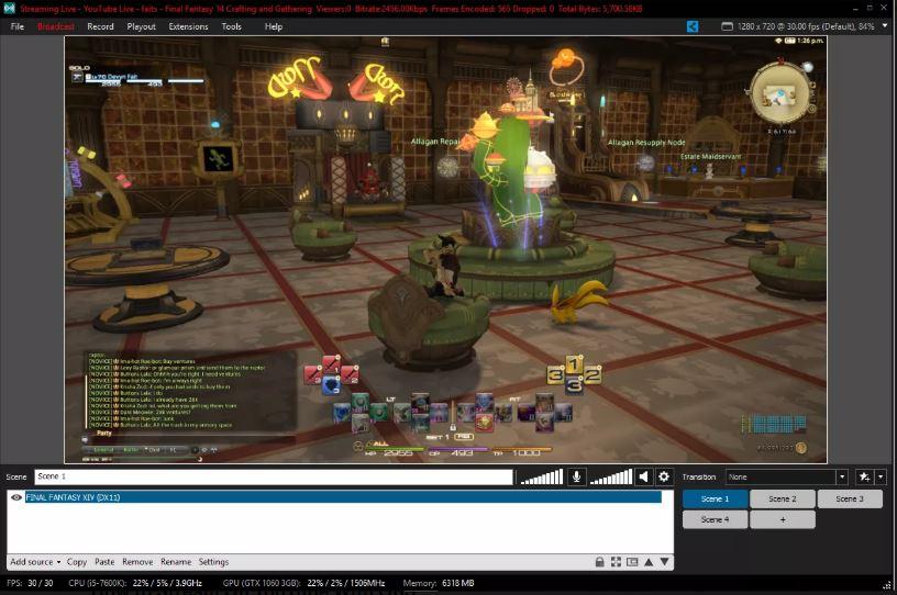 XSplit с прямой трансляцией Final Fantasy XIV