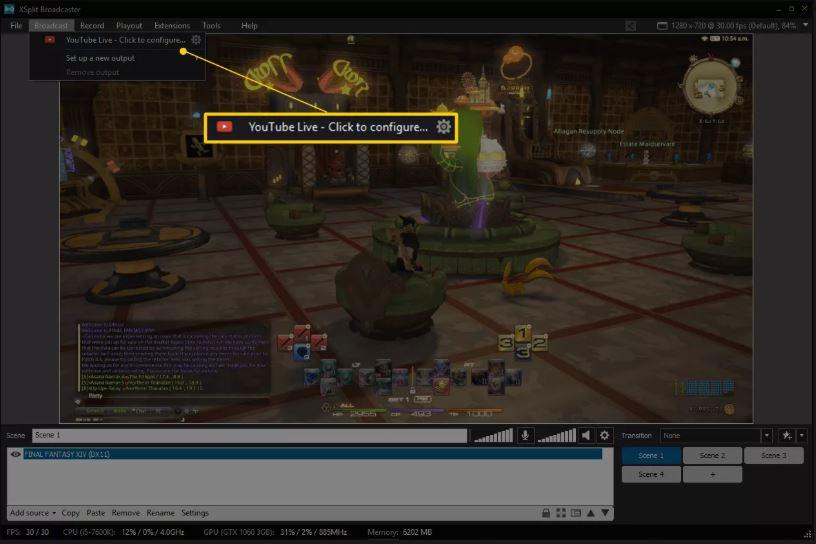 YouTube Live Нажмите кнопку «Настроить» в XSplit Broadcaster